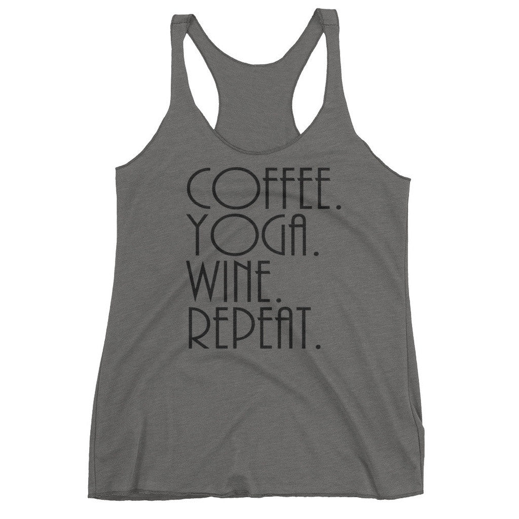 Coffee Yoga Wine Repeat Racerback Tank