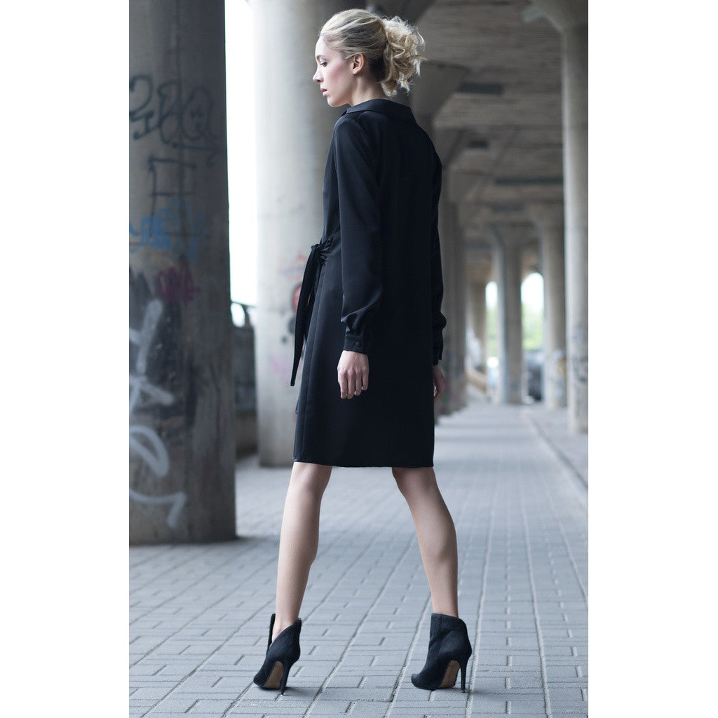 Black short shirt dress