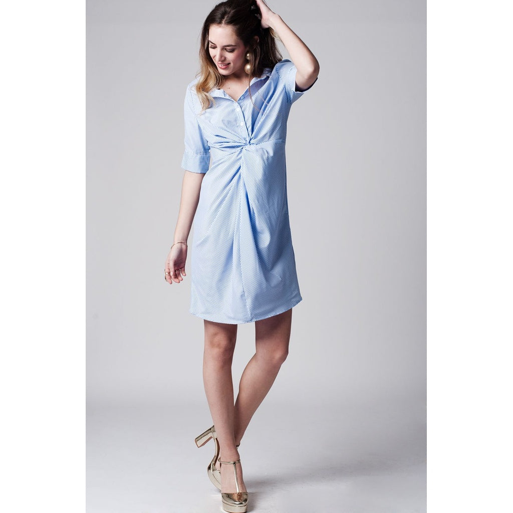 Blue stripe shirt dress