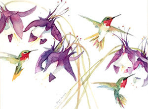 Columbine & Hummingbirds Print