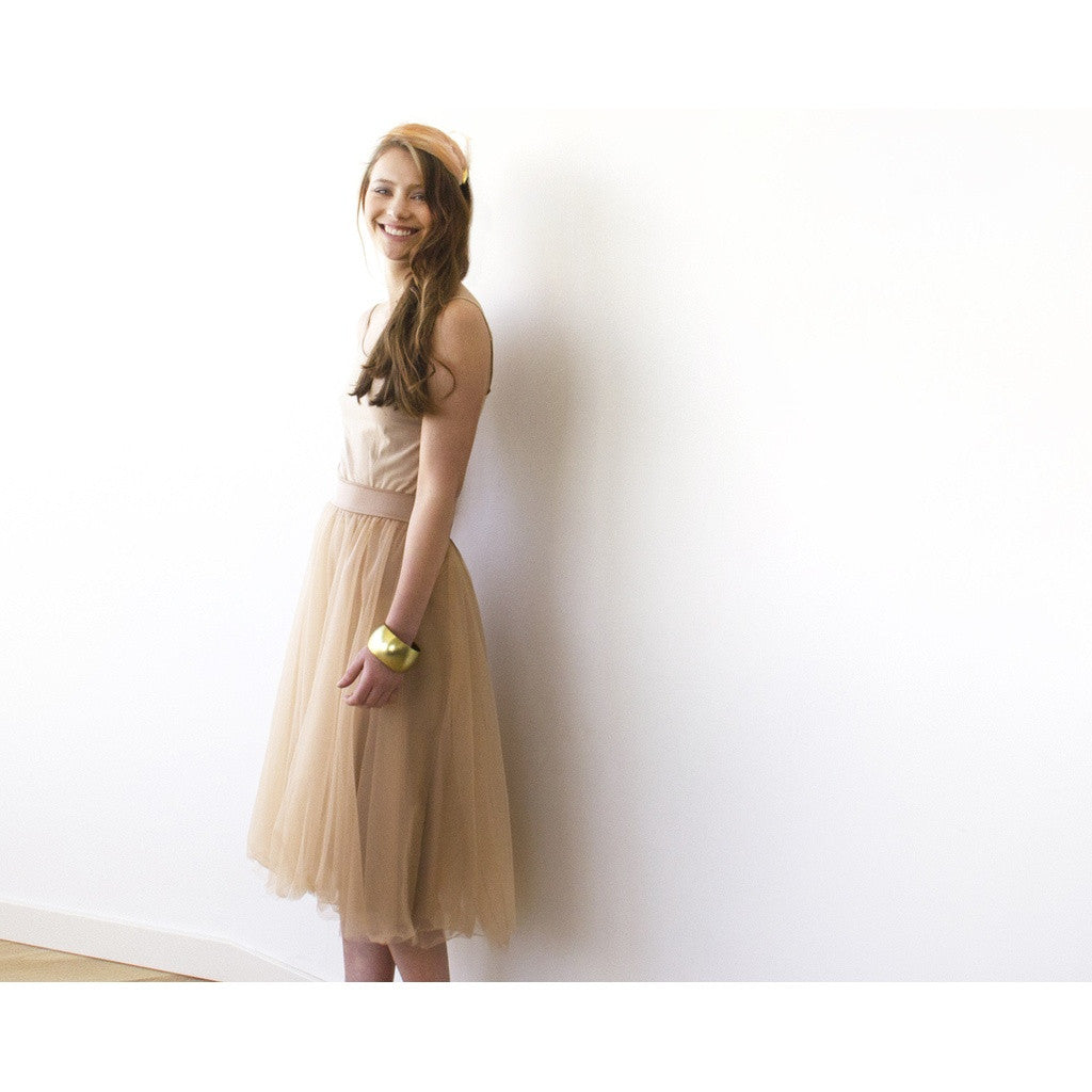 Golden-brown tulle midi skirt 3006