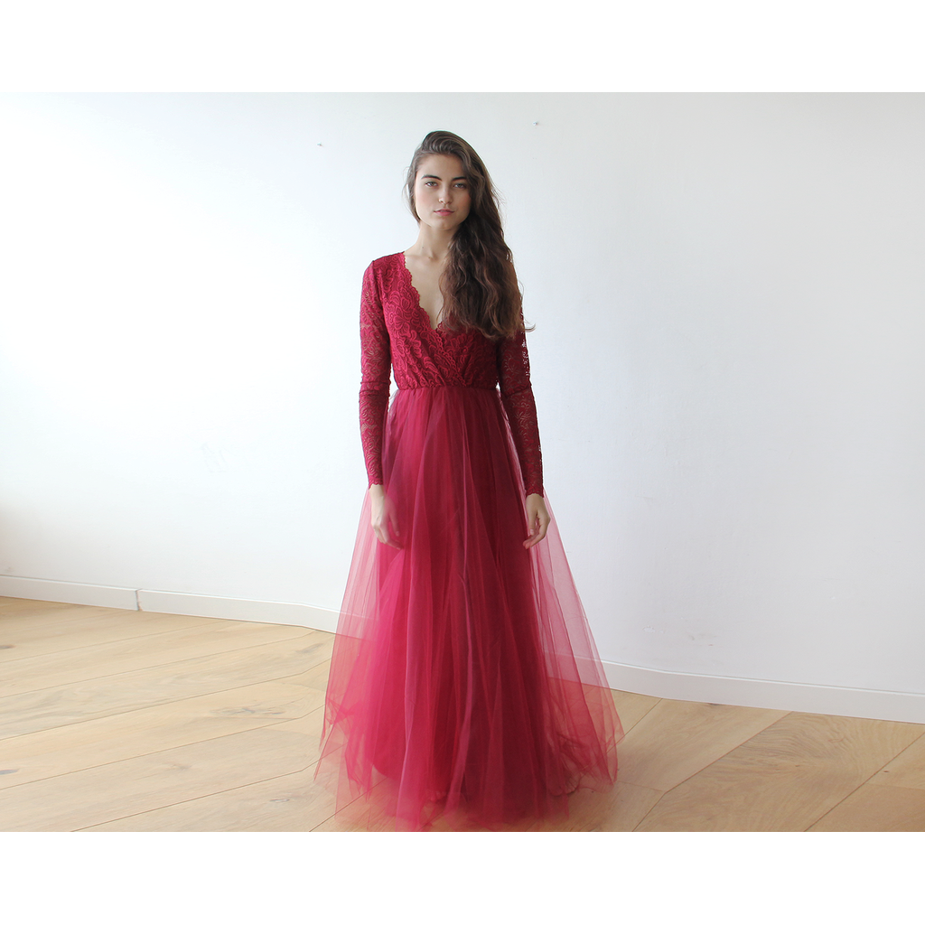 Bordeaux Tulle and Lace Long Sleeves maxi dress SALE 1125