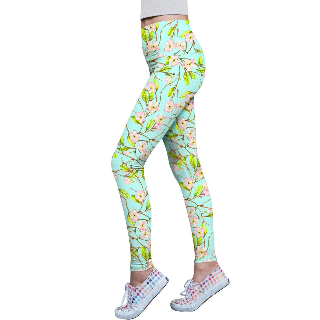 Muse Lucy Green Floral Print Performance Leggings - Women