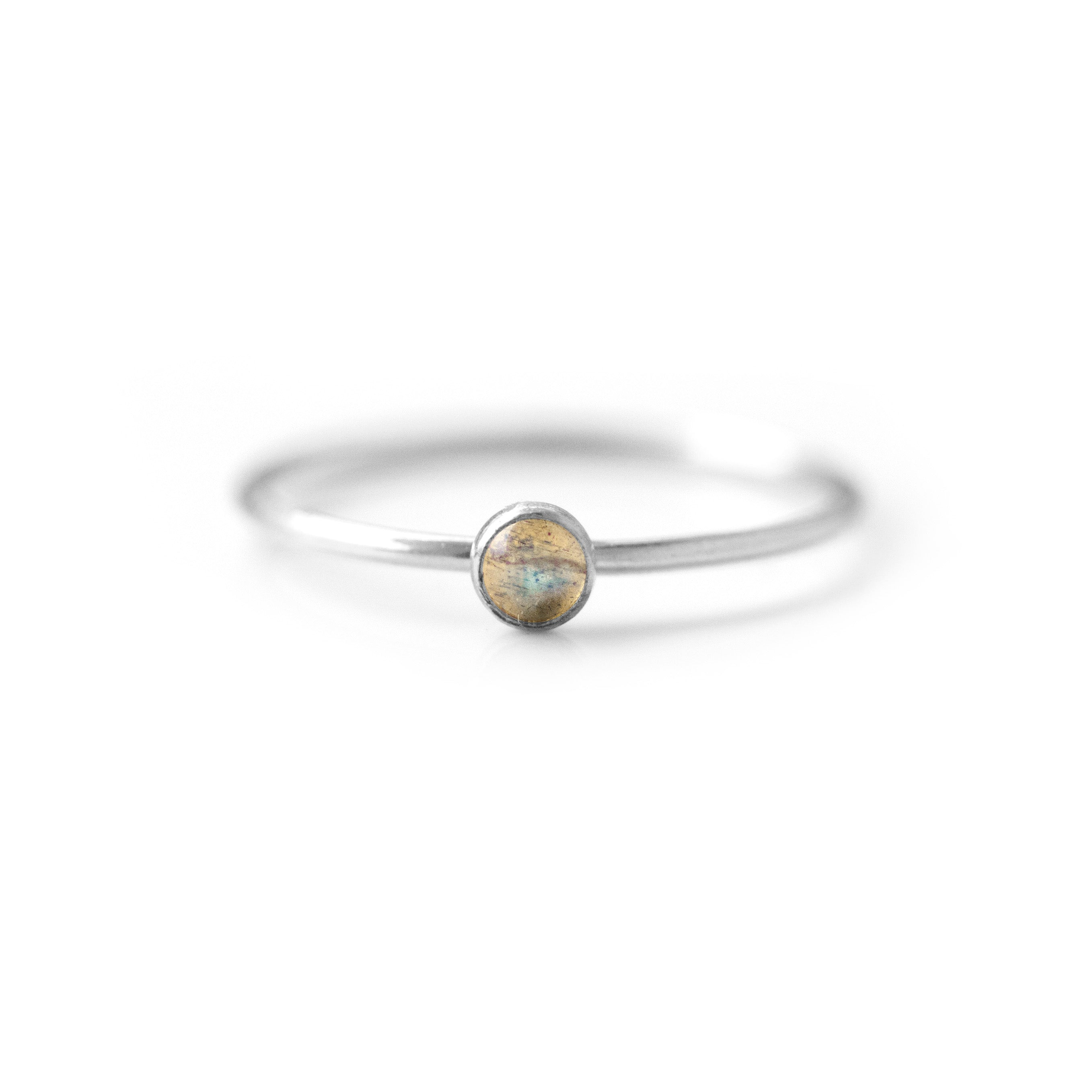 Natural Labradorite Gold Ring