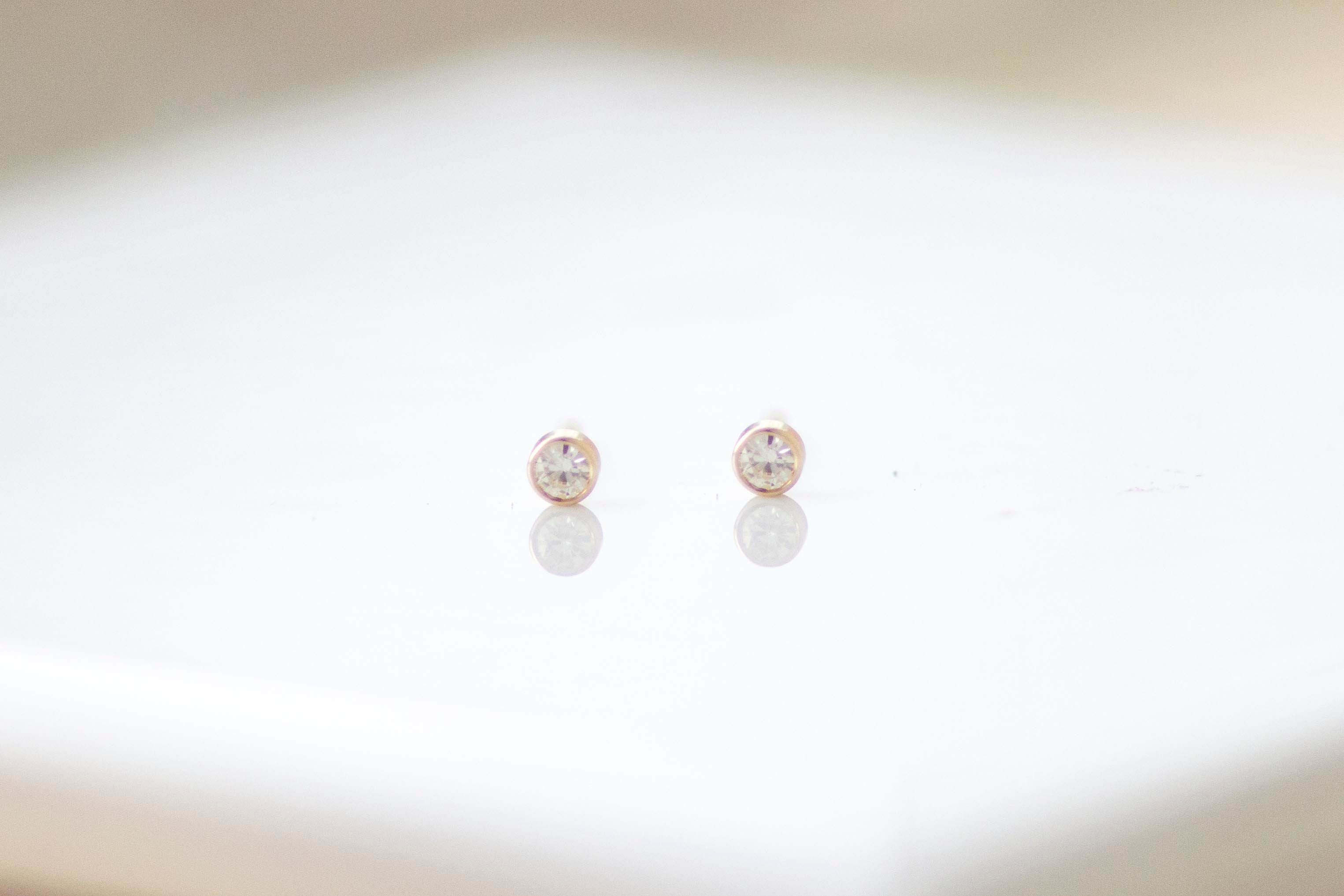 14k Yellow Gold Moissanite Studs