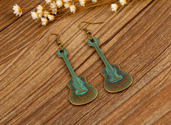 Vintage Bronze Pendant Guitar Earrings