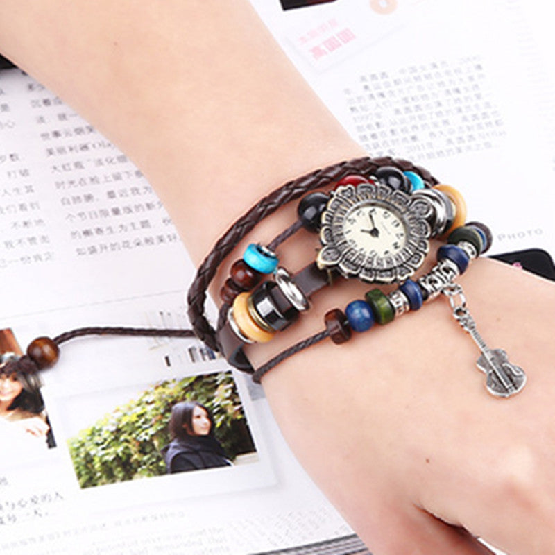 Crystal Beads Guitar Watch Bracelet