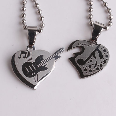 Double Heart Guitar Pendant Necklaces
