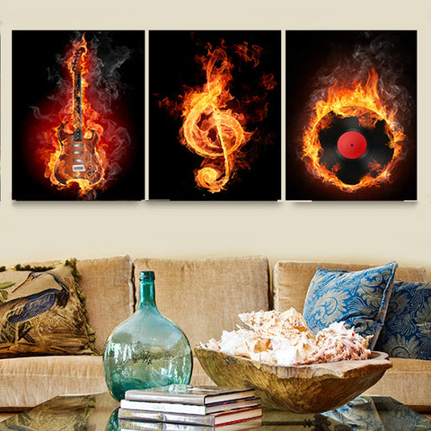 Hot Guitar Musical Note Record 3 Piece Canvas