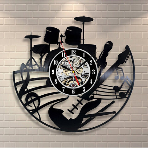 Vinyl Record Drum Set & Guitar Modern Wall Clock