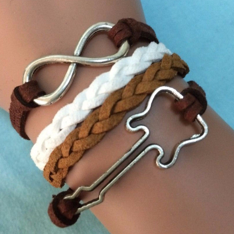 4-in-1 Guitar Infinity Leather Charm Bracelet
