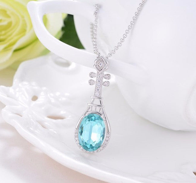 925 Sterling Silver Blue Austrian Crystal Pendant Necklace