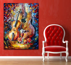 Hand painted Guitar Violin Canvas