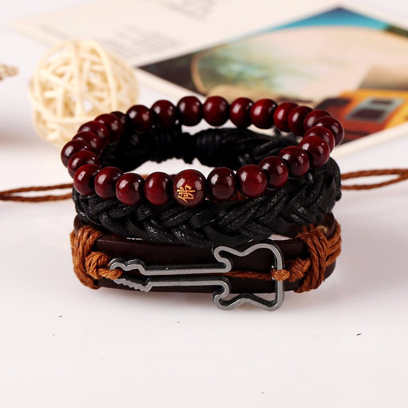 Leather Beaded Guitar Bracelet