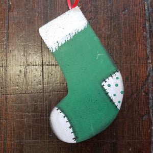 Wooden stocking ornament