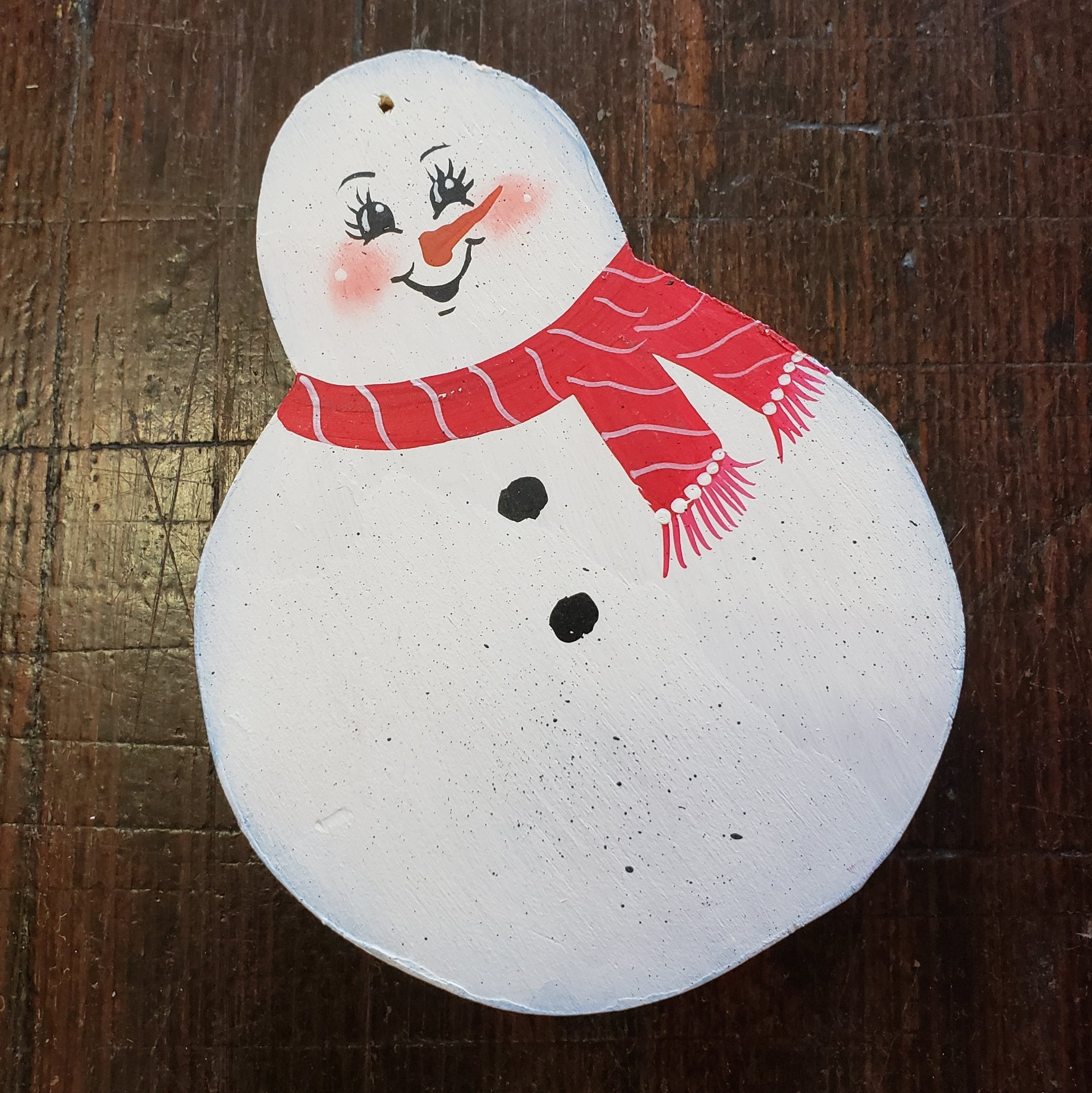Wooden snowman ornament