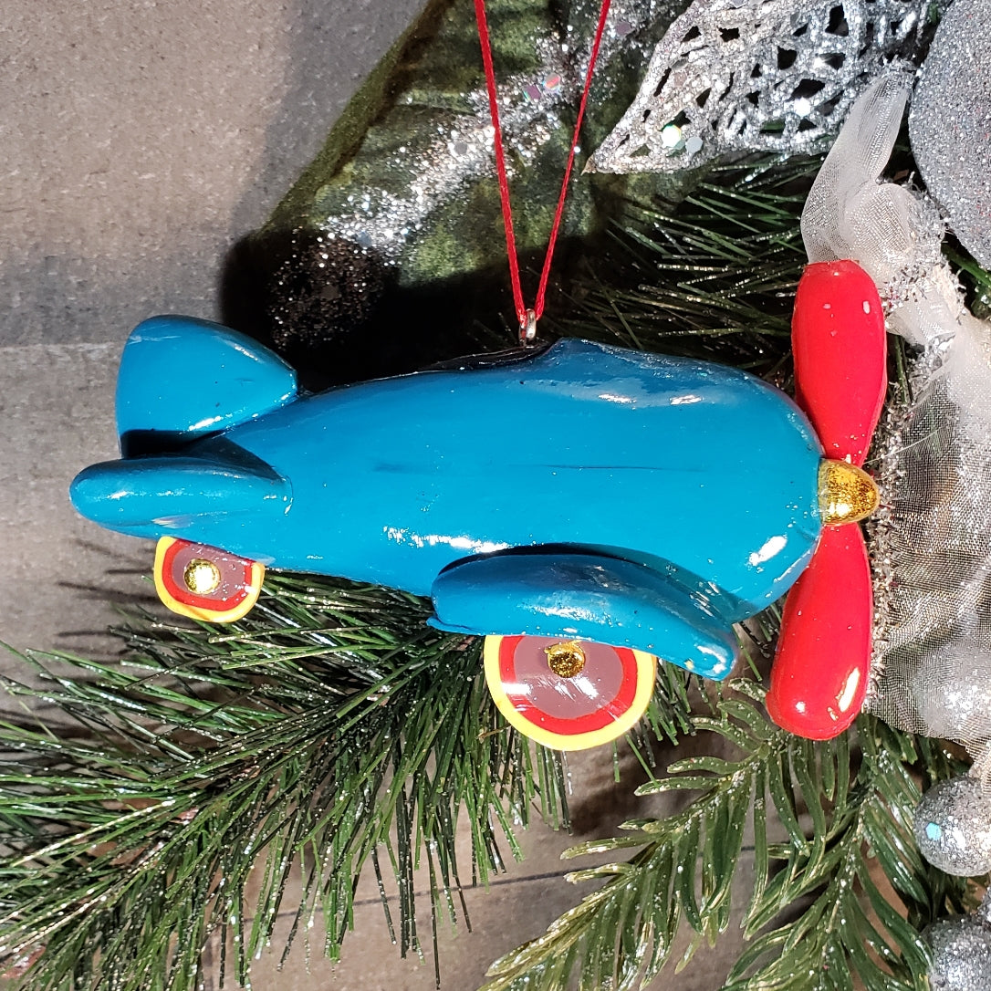 Blue Airplane Personalized Ornament