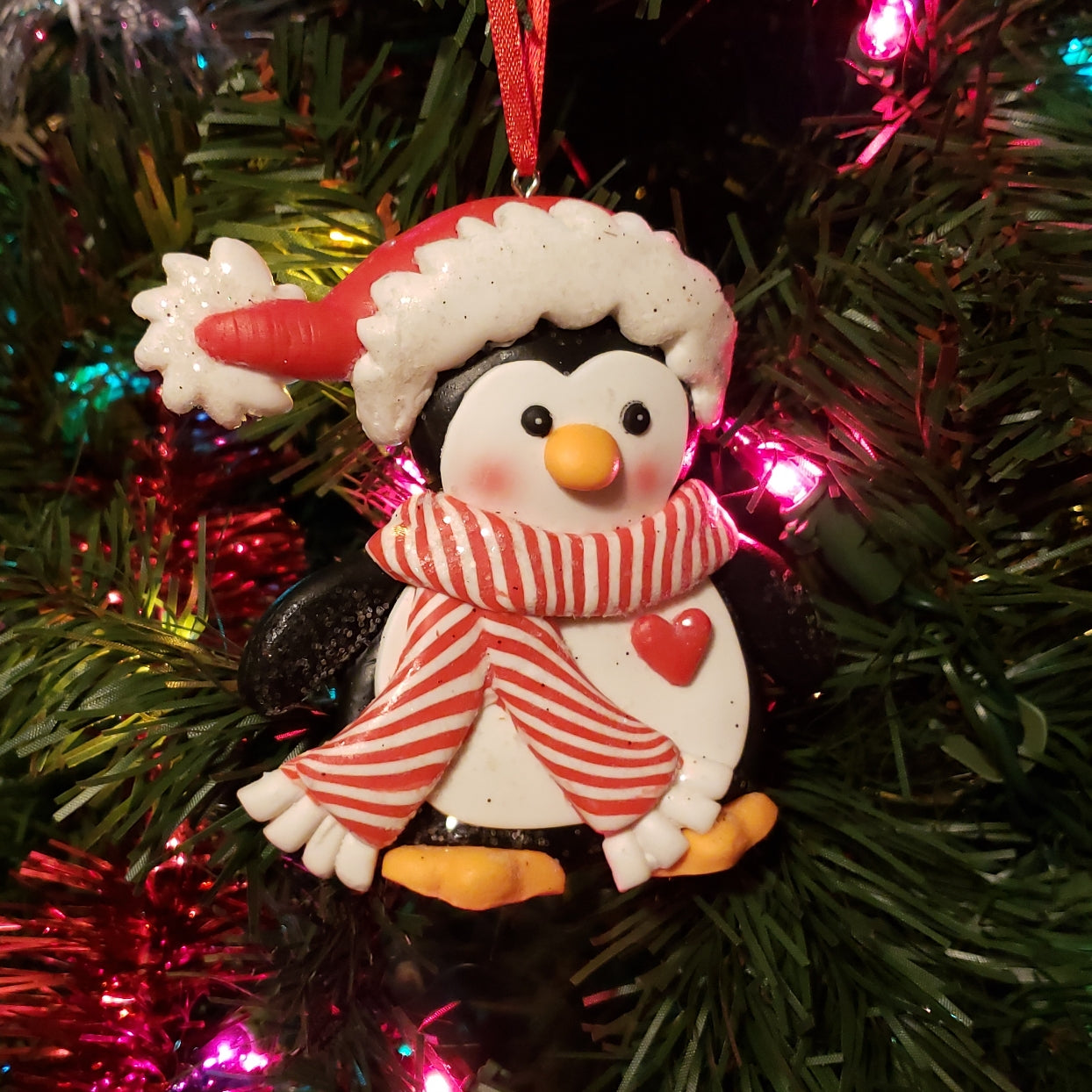 Penguin with Heart Ornament