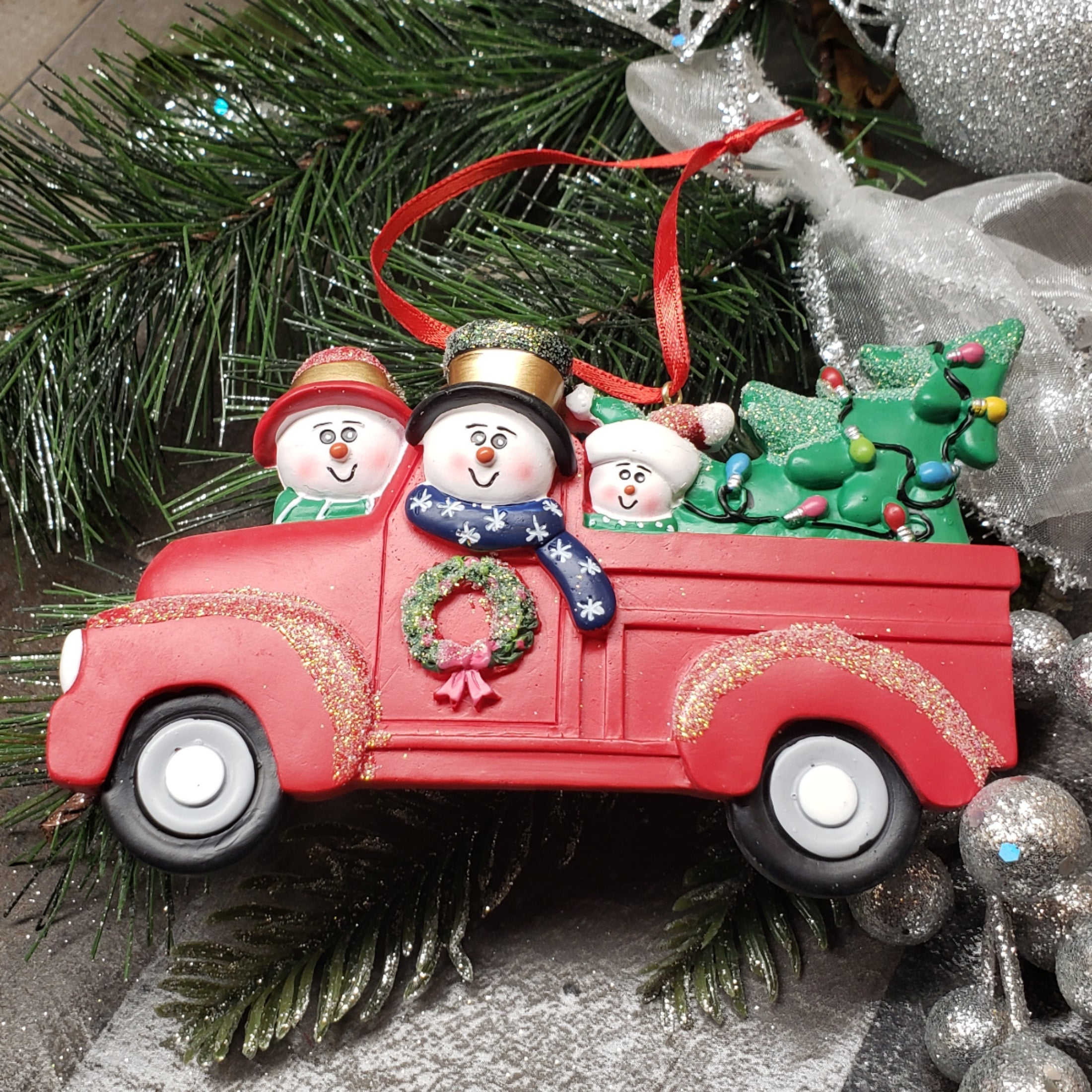 Red Truck Family Ornament