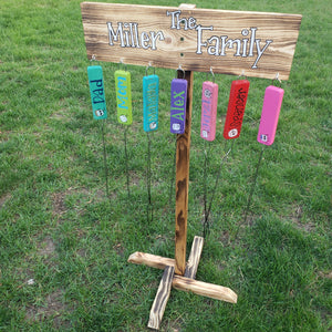 Campfire Sign and S'more Stick Holder on Stand