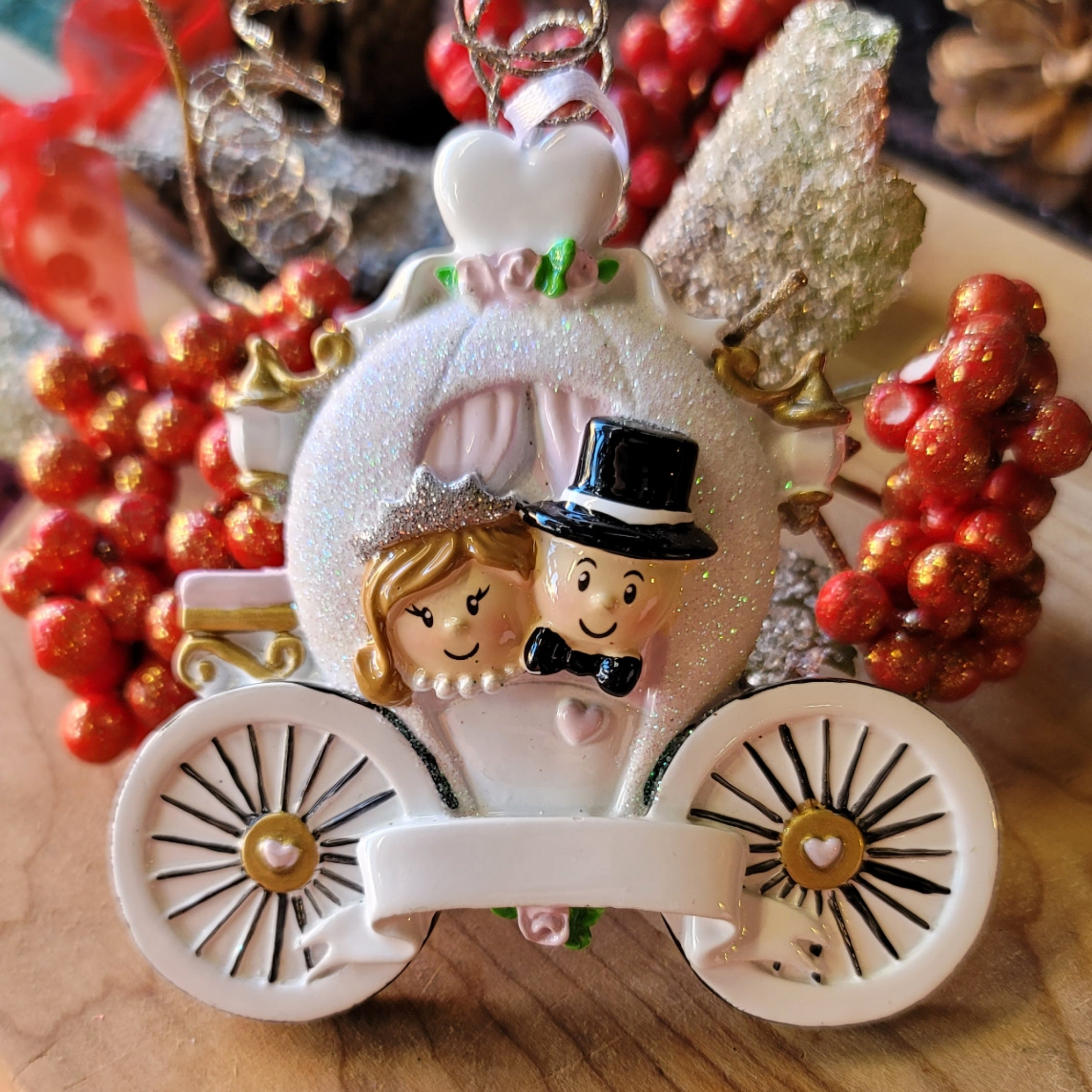 Couple in Carriage Ornament