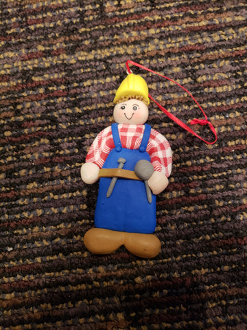 Construction worker ornament