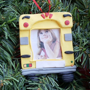 School Bus with Frame Ornament