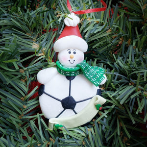 Snowman with Soccer Ball Ornament