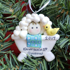 Boy Bubble Bath Ornament