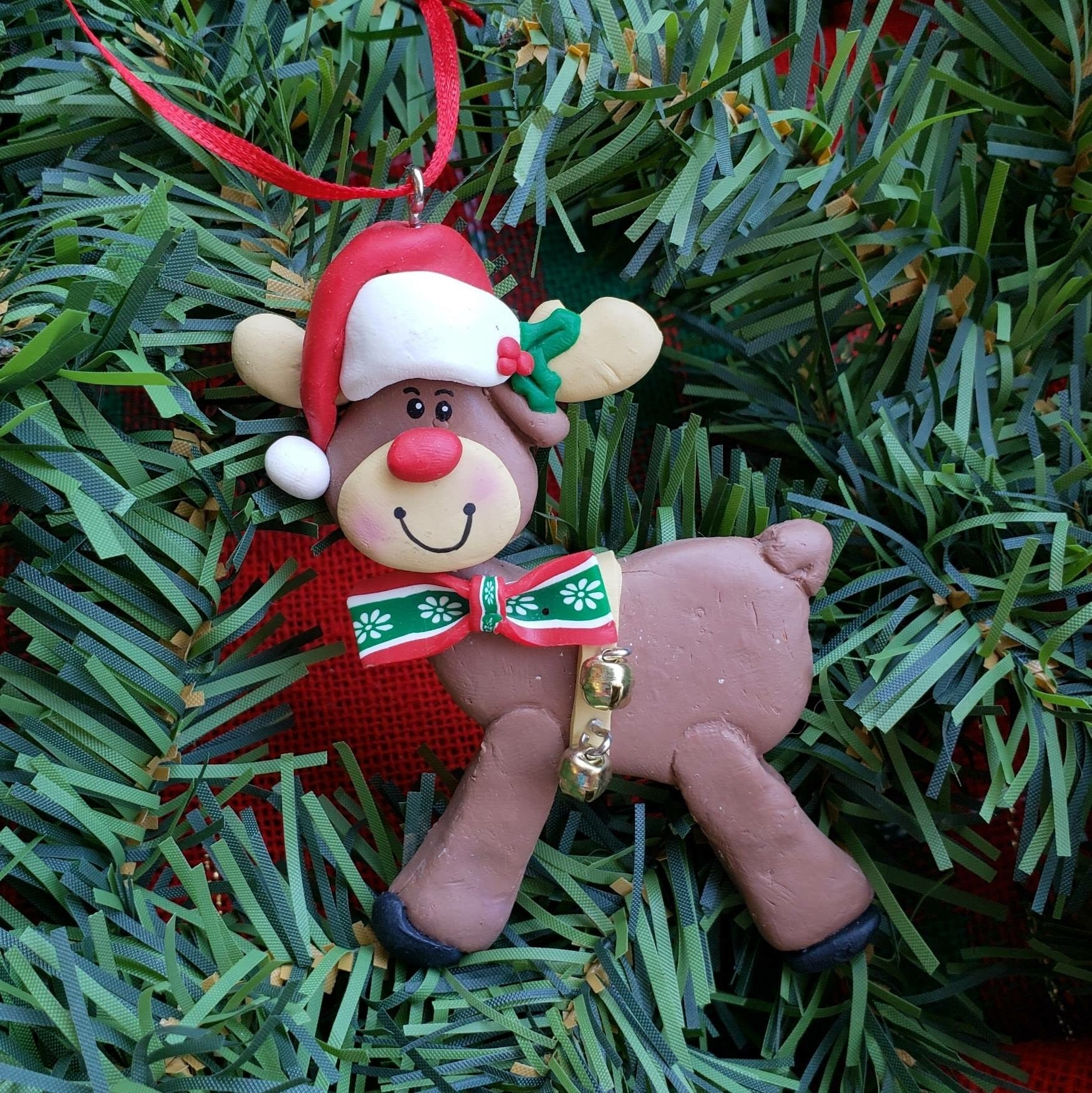 Reindeer with Santa Hat Ornament