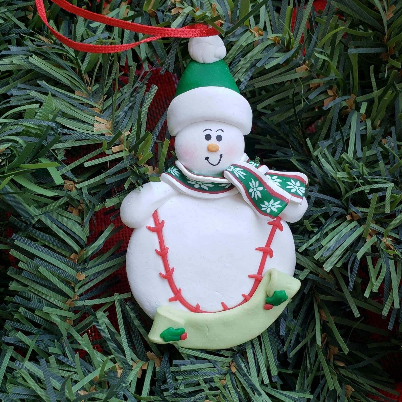 Snowman with Baseball Ornament