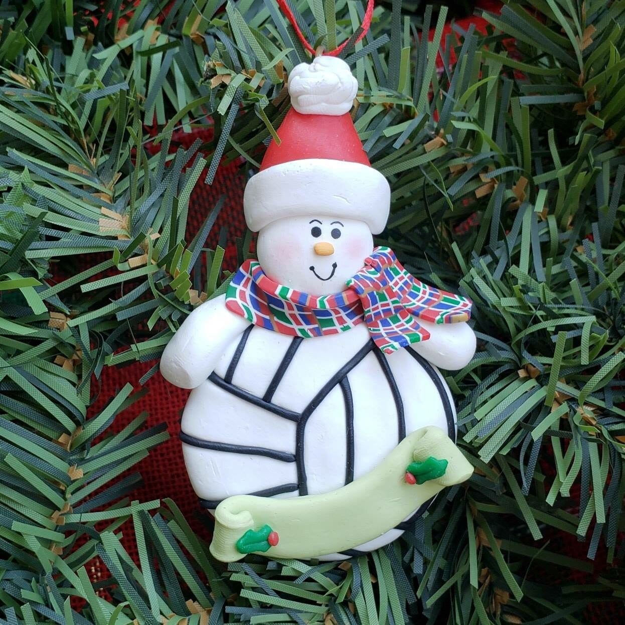 Snowman with Volleyball Ornament