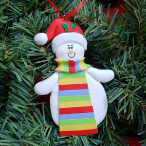 Snowman with Scarf and Santa Hat Ornament