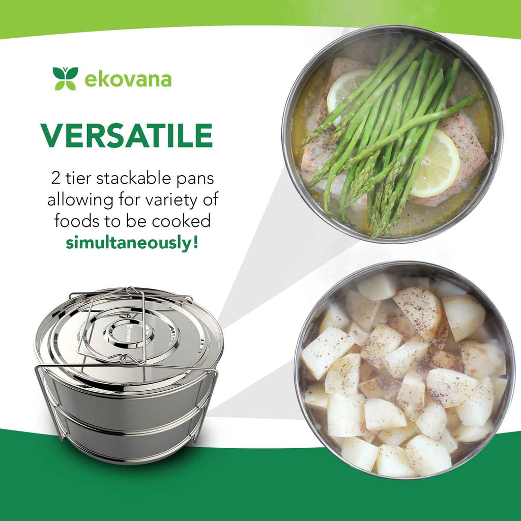 6 Quart Stackable Stainless Steel Pressure Cooker Insert Pans- 6qt Instant Pot Accessories
