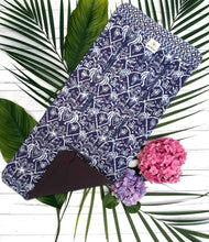 MILIKAI CO Compact Stroller Liner Indonesian Batik Blue Moonlight Black Underside