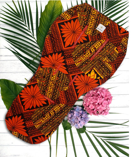MILIKAI CO Universal Pram Liner Pasifika Monstera Flame Red Pattern