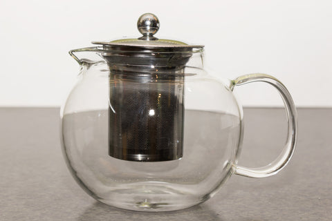Classic Clear Blooming Glass Teapot with Stainless Steel Strainer