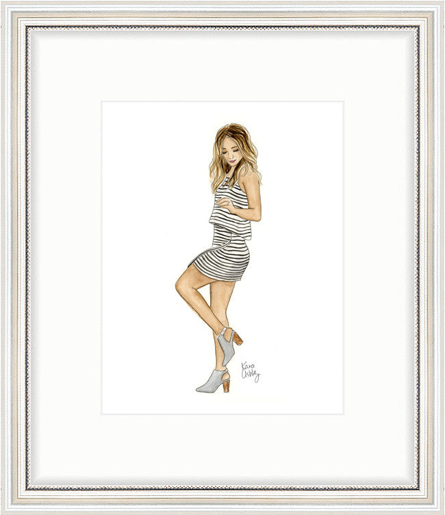 kara ashley, artwork, art print, illustration, framebridge, silver beaded, alex garza, alexandrea garza, stripes, style, fashion