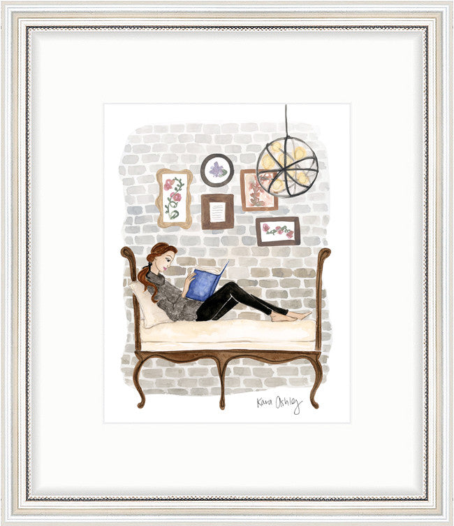 kara ashley, artwork, art print, illustration, framebridge, silver beaded, belle, beauty and the beast, inspired, oxford exchange, reading, cozy, brick wall, settee