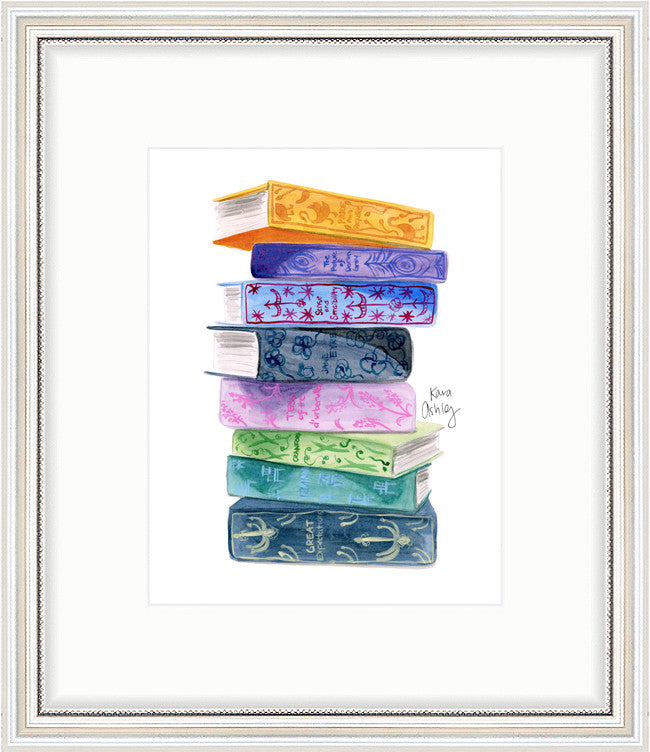 kara ashley, artwork, art print, illustration, framebridge, silver beaded, reading, library, book stack, classics, belletrist