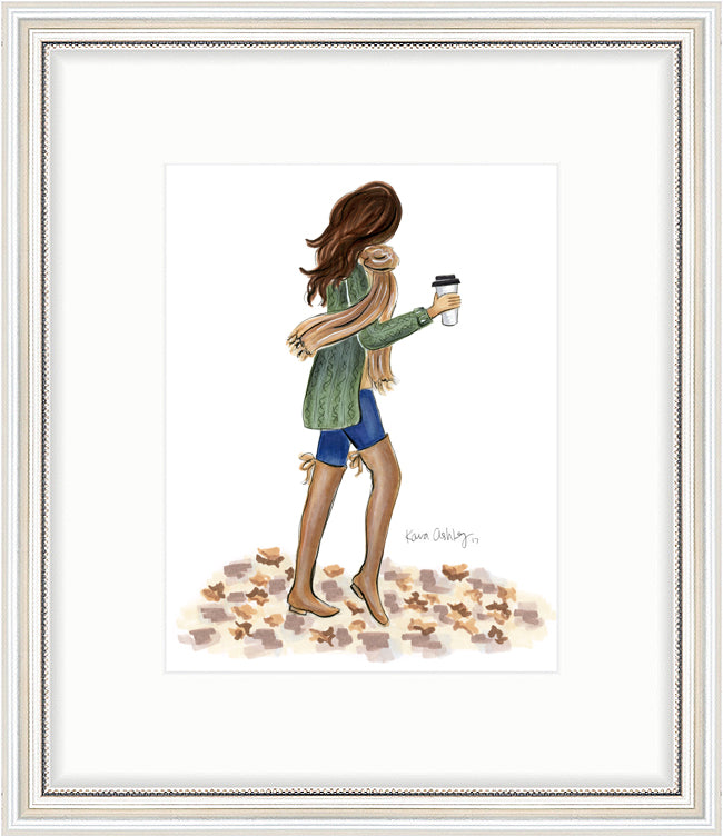kara ashley, artwork, art print, illustration, framebridge, silver beaded, cozy, fall, fashion girl, blogger, emily ann gemma, the sweetest thing, fall leaves