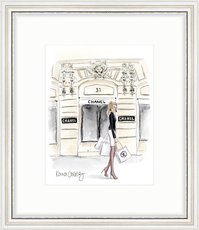 kara ashley, artwork, art print, illustration, framebridge, silver beaded, ponytail, paris, chanel, store, bags, shopping