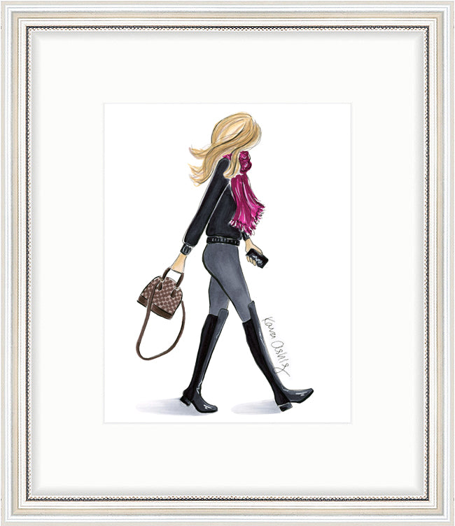 kara ashley, artwork, art print, illustration, framebridge, silver beaded, fashion girl, stuart weitzman, 5050, boot, scarf, louis vuitton, alma bb, walking, inslee, fall