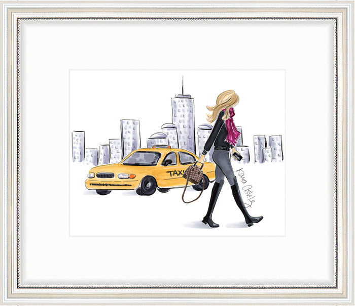 kara ashley, artwork, art print, illustration, framebridge, silver beaded, nyc, new york, city, skyline, taxi, louis vuitton, alma bb, stuart weitzman, 5050 boots, winter, fall