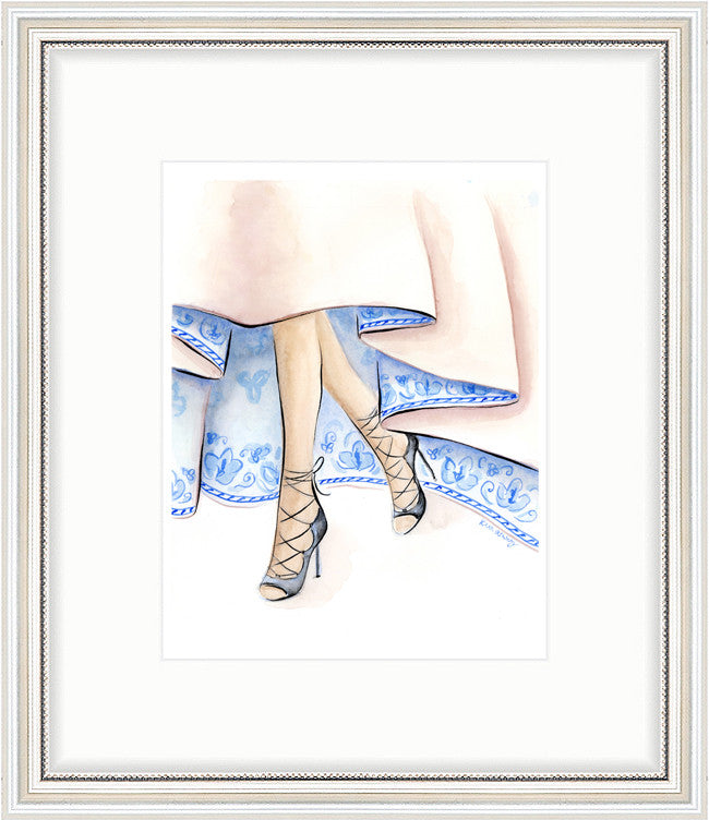 kara ashley, artwork, art print, illustration, framebridge, silver beaded, christian dior, blue china, couture
