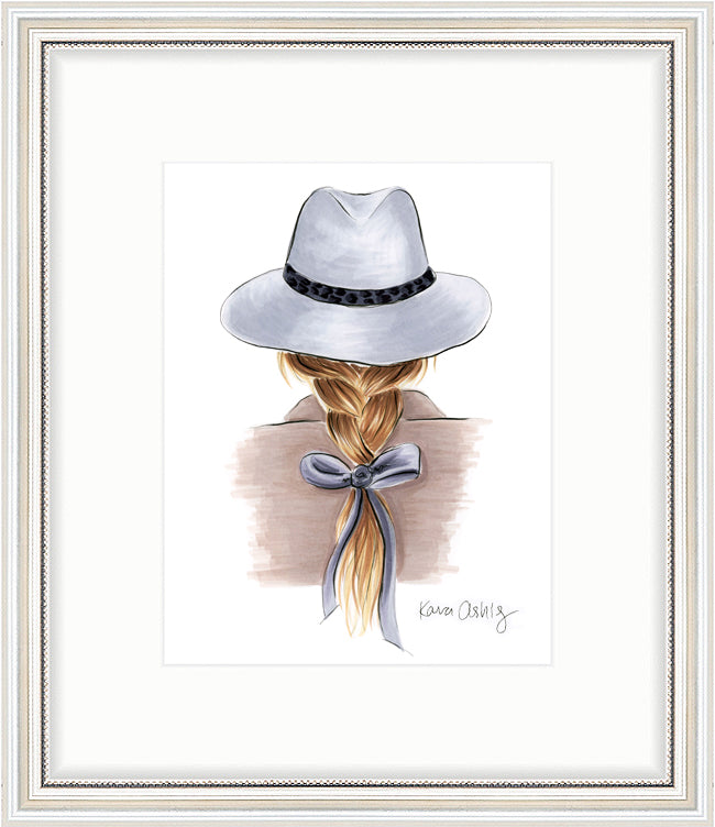 kara ashley, artwork, art print, illustration, framebridge, silver beaded, fedora, braid, bow, fall, fashion