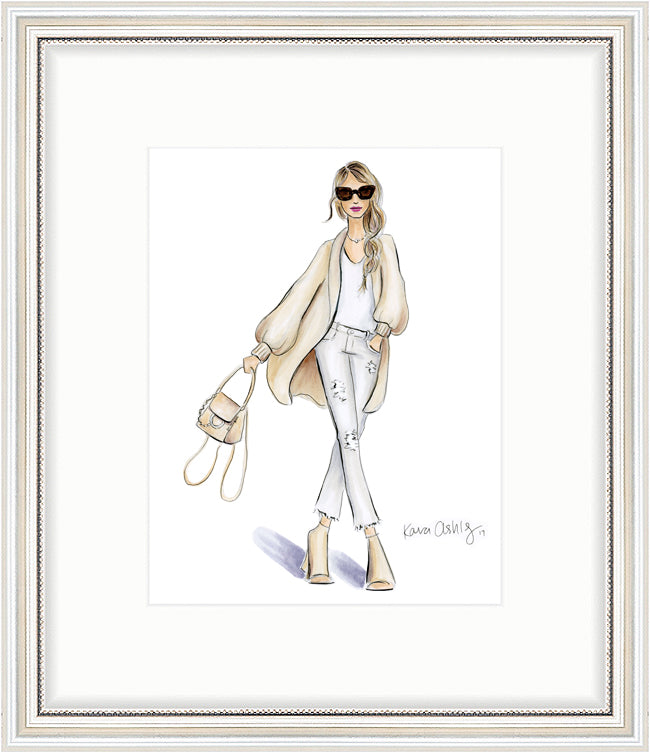 kara ashley, artwork, art print, illustration, framebridge, silver beaded, neutral, boho, sweater, white jeans, tan sweater, fashion girl, chloe backpack