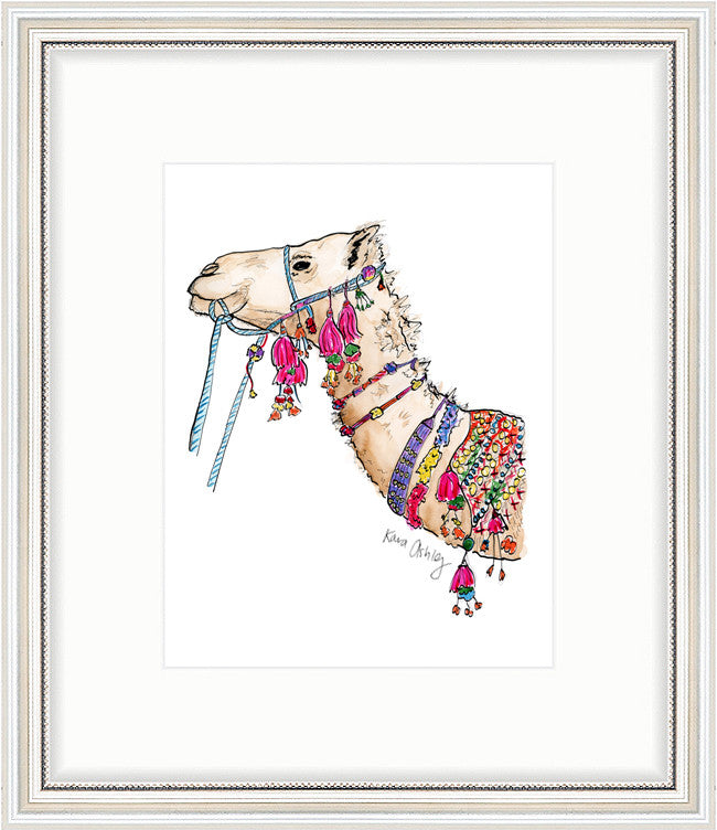 kara ashley, artwork, art print, illustration, framebridge, silver beaded, camel, fancy, decorated, embellished