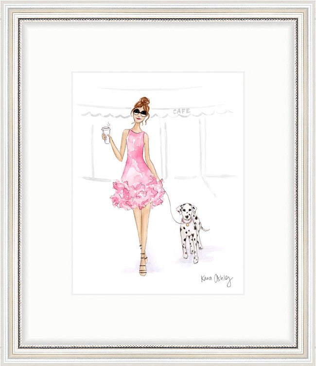 kara ashley, artwork, art print, illustration, framebridge, silver beaded, giambattista valli, coffee run, dalmation, couture