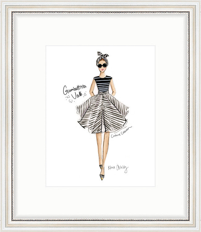 kara ashley, artwork, art print, illustration, framebridge, silver beaded, giambattista valli, black and white, stripes, runway, fashion